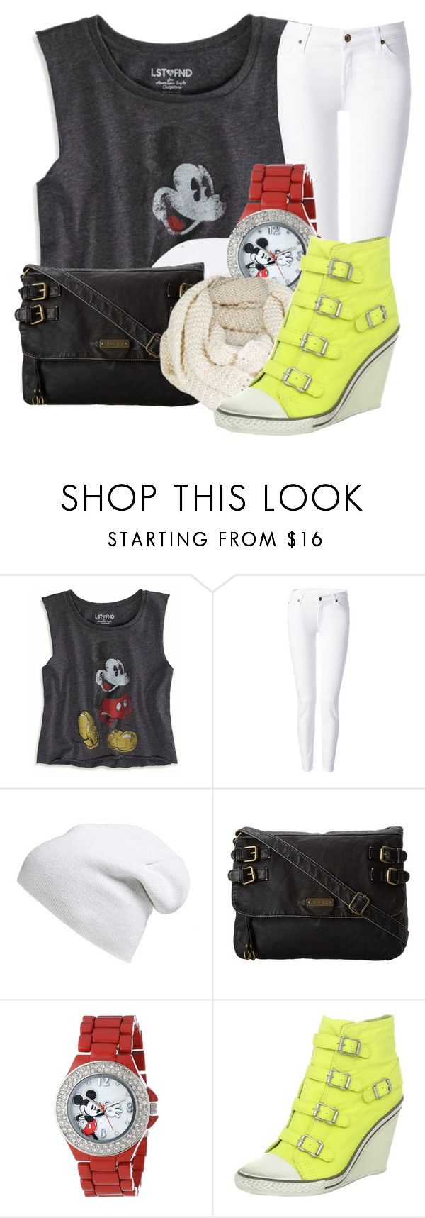"""""""Mickey Mouse Inspired Outfit"""" by god-girl ❤ liked on Polyvore featuring American Eagle Outfitters, 7 For All Mankind, Phase 3, Roxy, Disney, Ash, yellow, sneakers, Wedge and scarf"""