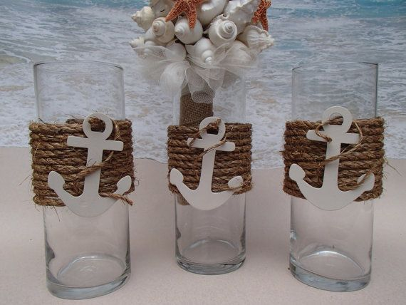 The Nautical Vases are wrapped in premium natural fiber rope and completed with a white anchor with rope wrapped around it. You can use them as