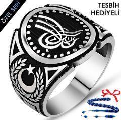Tuğralı Ay Yıldız Motifli 925 Ayar Gümüş Erkek Yüzük
