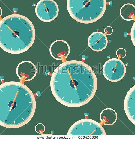 Classic professional stopwatch flat icon seamless pattern. #sport #sportart #vectorpattern #patterndesign #seamlesspattern