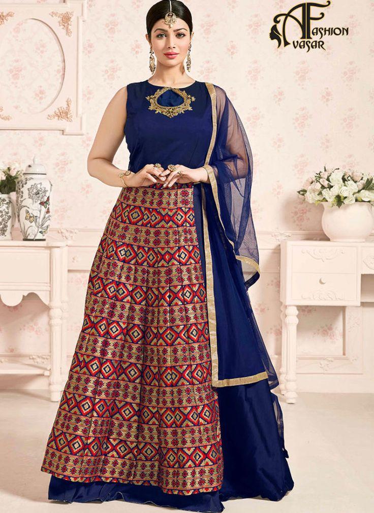 Long Anarkali salwar kameez online india – blue Jacquard Silk buy salwar suit online