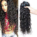 Peruvian Wet and Wavy Human Hair Weave Bundles 100% Peruvian Virgin Human Hair Water Wave Weft 4 Bundles Black Color Hair Extensions (20 22 24 26)
