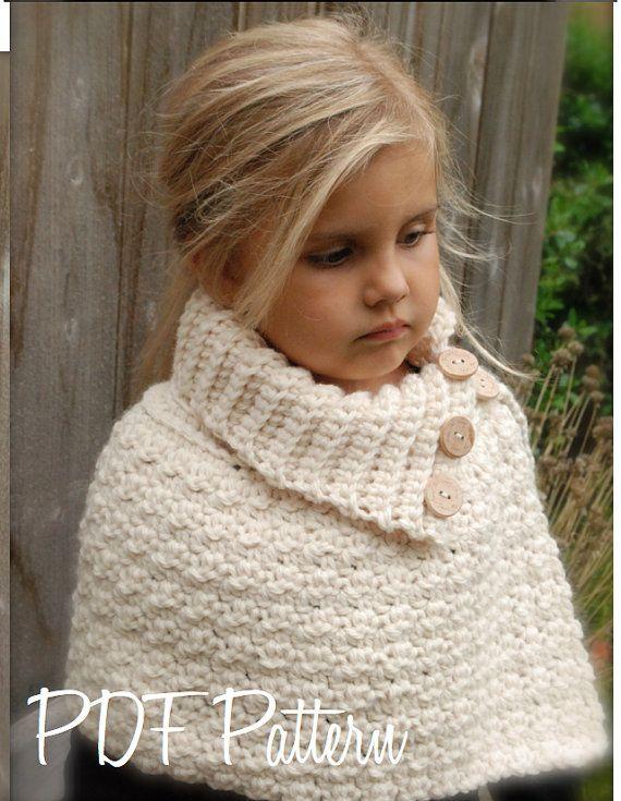CROCHET PATTERN - Finleigh Cape (12/18 months, Toddler, Child, Adult sizes)