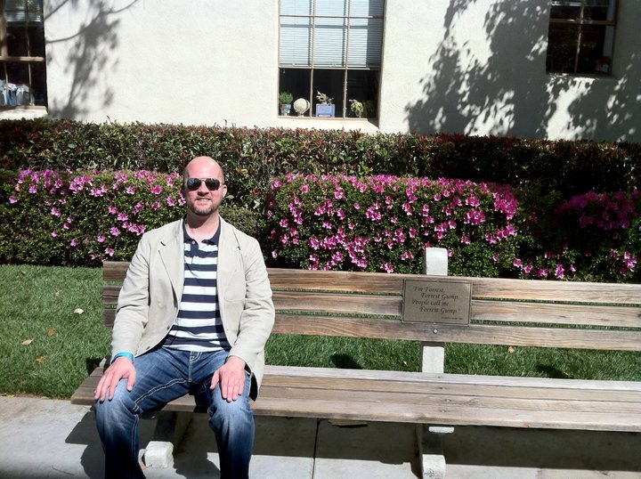 Sitting on THE Forrest Gump bench at Paramount.