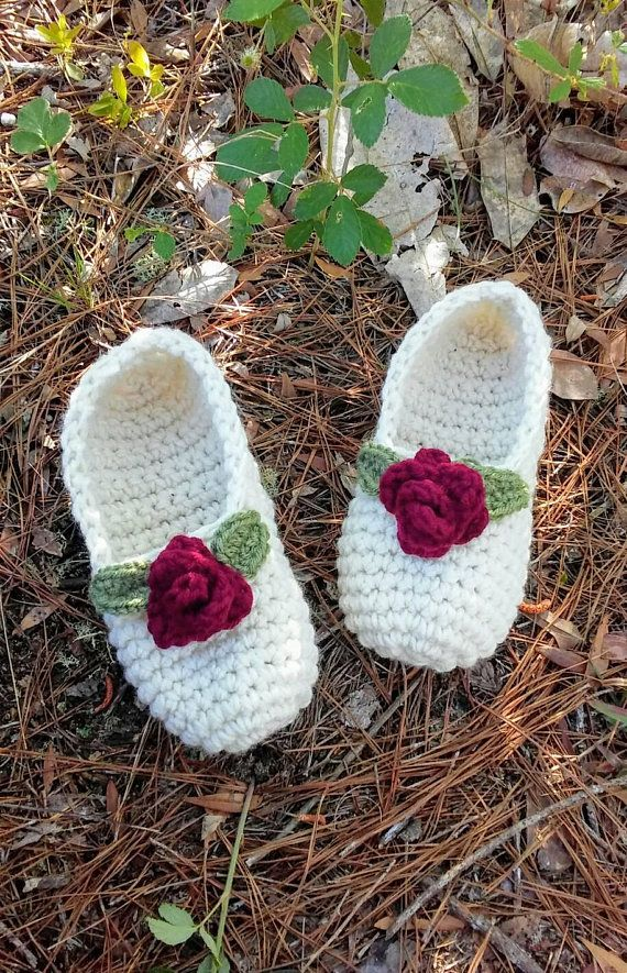 e08e3660f7210 Rosebud Slippers, women's crochet slippers, knit slippers, handmade ...