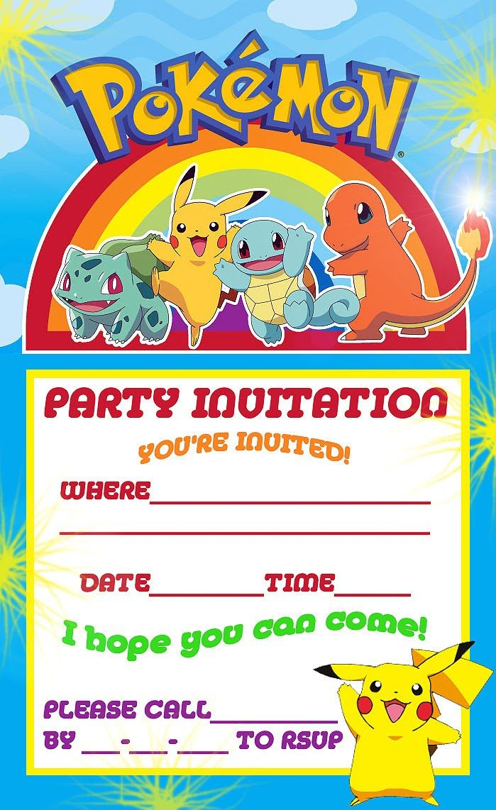 Free Printable Pokemon Birthday Party Invitations | Party Ideas | Pinterest | Pokemon birthday ...