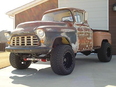 Chevrolet : Other Pickups 3100 1955 Chevrolet 3100 Rat Rod Patina LS 4x4 Shortbed Truck AC Complete Restore