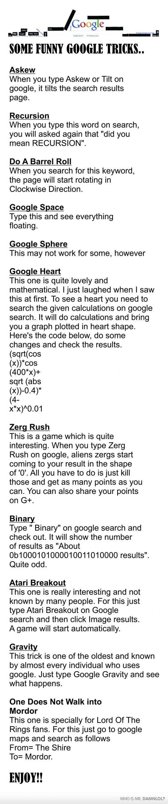 Funny Google Tricks - Damn! LOL