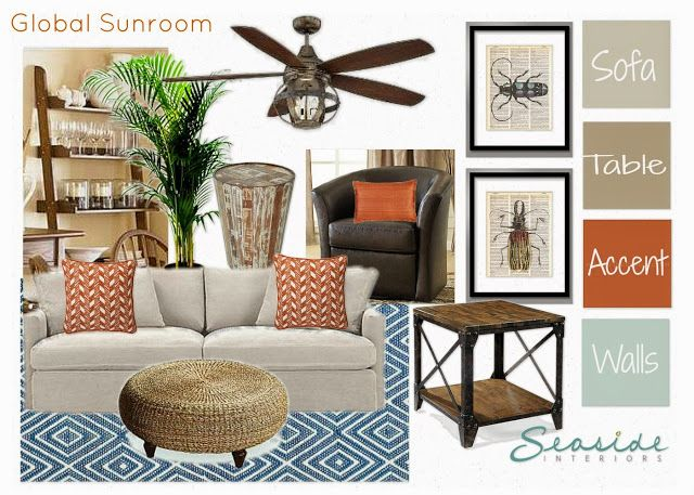 Global Sun room Design Board today on the blog by Seaside Interiors @ www.abritofhappiness.blogspot.com