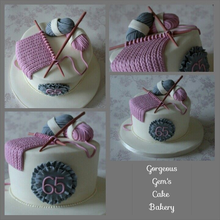 Knitting Cake with knitting, needles and balls of wool.  All edible