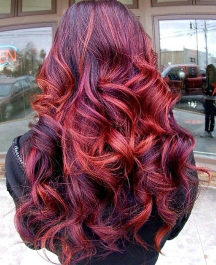 Burgundy orange dyed hair highlights | Hair | Pinterest ...