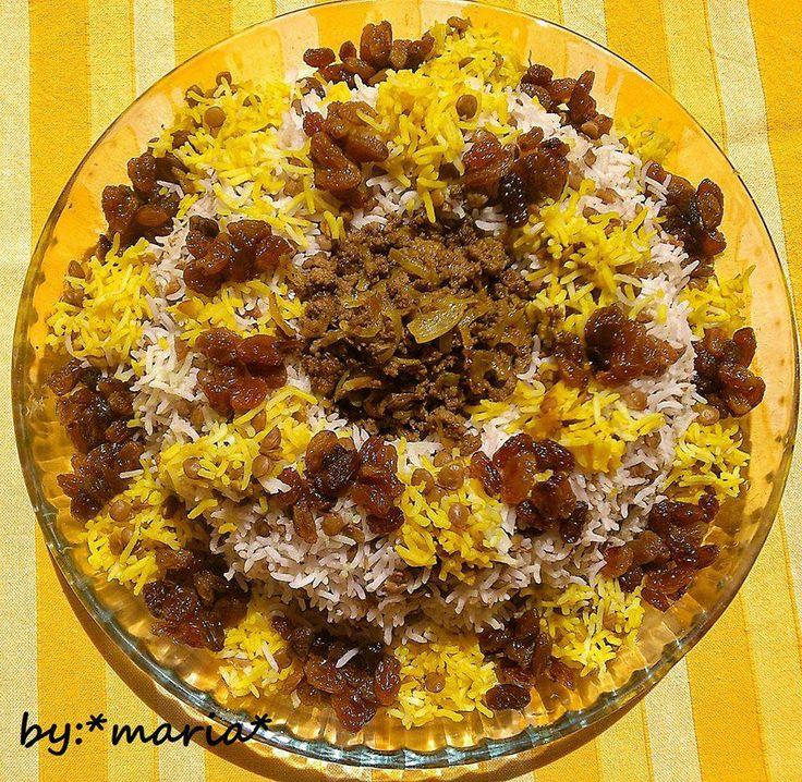 Persian Lentil rice with raisins_ عدس پلو