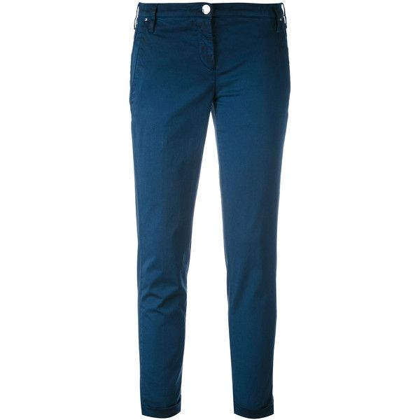 Shop Jacob Cohen Slim Fit Trousers at Modalist | M0024000263533 (1597590 PYG) ❤ liked on Polyvore featuring pants, blue trousers, slim fit pants, slim fit trousers, slim pants and blue slim fit pants