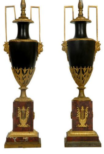 Details about Pair Antique French Empire Period Ormolu Bronze & Marble Urns Converted to Lamps