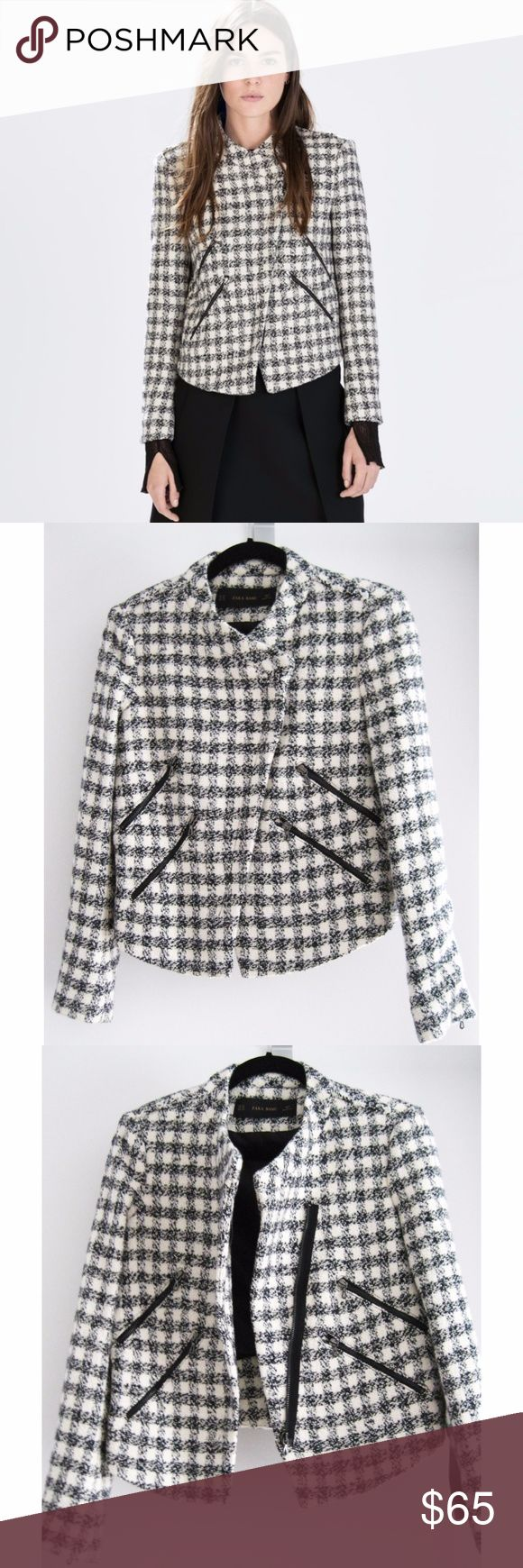 "NWT Zara Tweed Checkered Moto Jacket Sz XS A cozy black and white checkered tweed moto jacket with an asymmetrical center front zip closure. Features 4 front diagonal zip pockets, 1 zipper on each back sleeve, and frayed details on the shoulder and back. Fully lined. New with tags, never worn. Smoke/pet-free home. Free free to ask questions! Open to reasonable offers! All images are my own except for the 2nd photo. Credited to Zara online image.  Across Shoulder (ah seam to ah seam): 16""…"