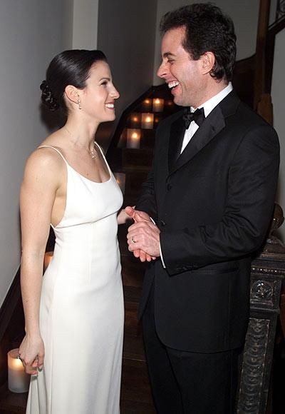 JERRY & JESSICA SEINFELD Looks like this comedian's not the one with jokes. Jerry Seinfeld shared a laugh with his new wife after their 2000 wedding in New York, naturally.