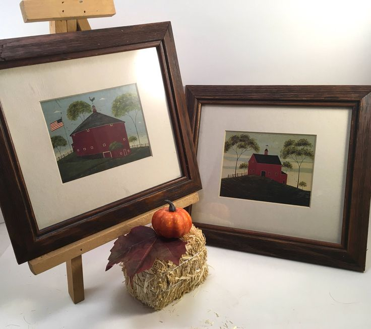 pair Warren Kimble framed matted prints American Folk Art country farm barns cupola weathervanes rustic frames by OneTenMollyLane on Etsy
