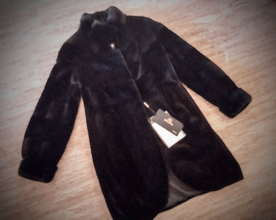 Fur Coat/ Real Saga mink fur/ Full skinned sheared blueblack color