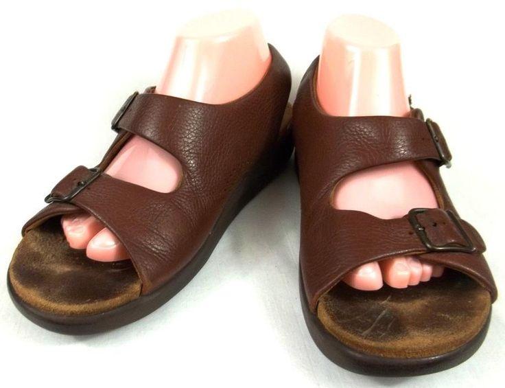 Weatherproof Mens Brown Sport Sandals Shoes 9M Leather Heel Straps Shoes