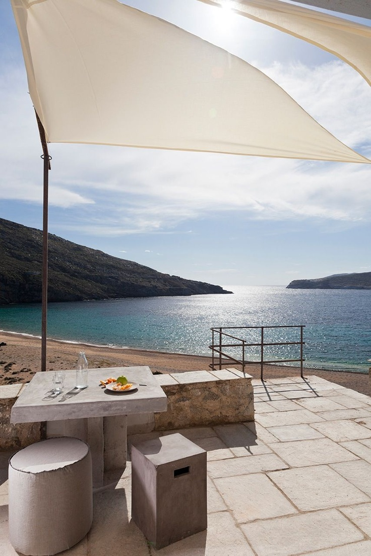 The view outside the Coco-Mat Eco Residences, situated above the wide sandy 'Vagia' Beach in Serifos, Cyclades Islands, Greece.
