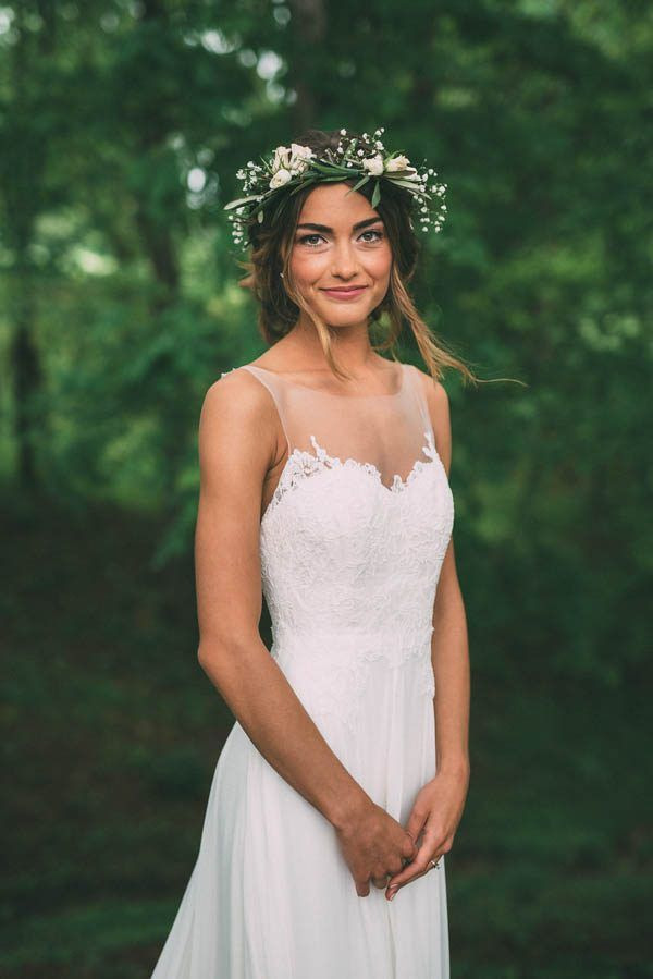 The sweetest birdal flower crown and illusion neckline | Photography by The Image Is Found