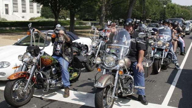 "Bikers participate in America's 9/11 Ride in Washington on September 11, 2013. The motorcycles drowned out what was originally billed as the ""Million Muslim March."" UPI/Yuri Gripas"
