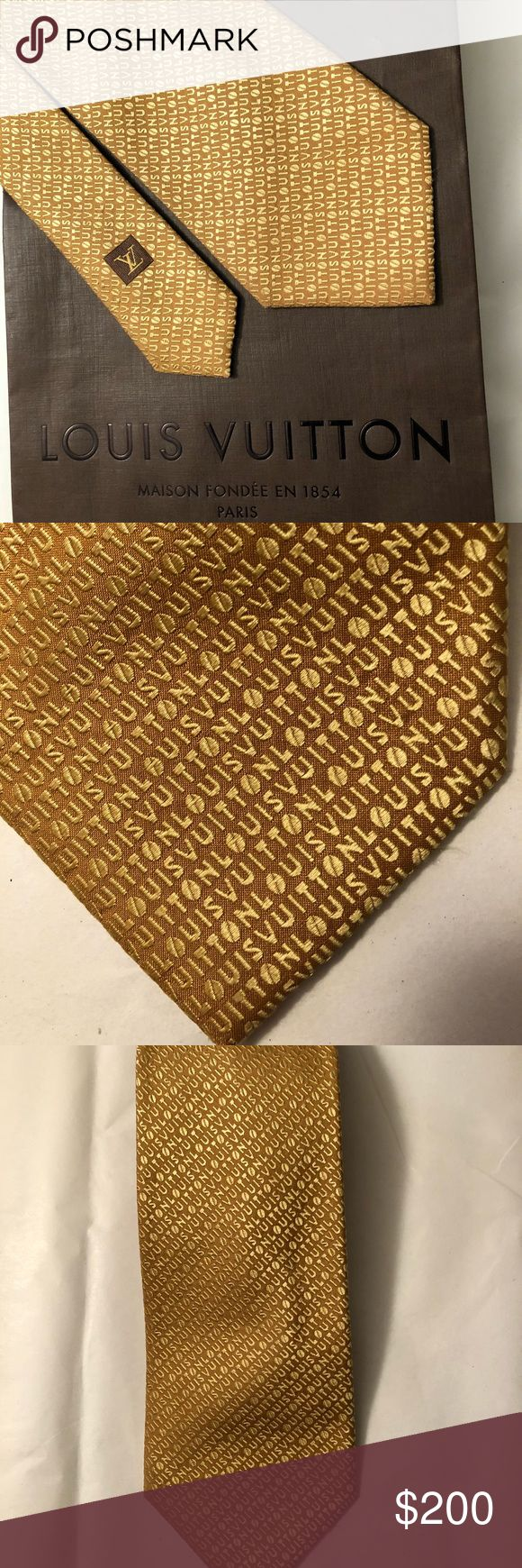 Louis Vuitton Authentic silk designer golden tie Authentic Louis Vuitton designer silk tie from Italy. Unique Vuitton design in great condition. Bag not included Louis Vuitton Accessories Ties