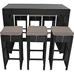Sunnydaze Mombasa Wicker Rattan 7-Piece Outdoor Patio Bar Set with Riverbed Cushions