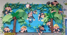 Monkey Mischief Bulletin Board Set Idea  www.Boslands.com Bosland's Learning Plus, LLC Products Used: T8201 - Monkey Mischief Bulletin Board Set ($13.99) Fadeless Azure Bulletin Board Set Paper Handmade palm trees and construction paper chains