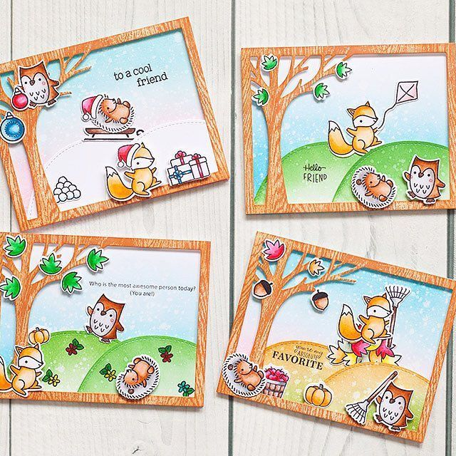 Today I finally have free and calm day only for me. It means HP movies marathon and some crafting. And I created this set of four seasons using only one stamp set by @lawnfawn - this time it took four months to realize the idea! These cards show the happy friends who ate always all together! (Hmmm... that hedgehog... what does he do on all cards??) ❄️ Прошлая неделя прошла в какой-то жуткой гонке, даже выходные! И наконец день, когда можно смотреть фильмы ГП и делать открытки для души -...