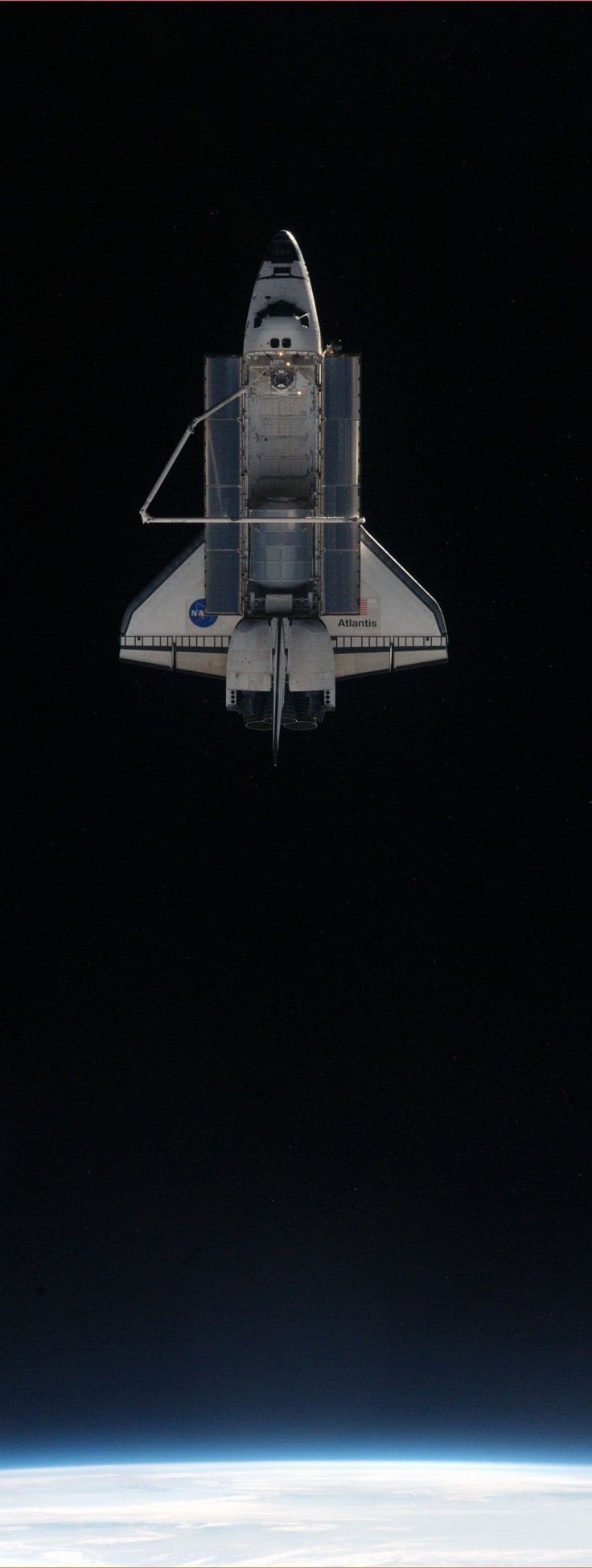 Atlantis and ISS Separate for the Final Time This picture of space shuttle Atlantis was photographed from the International Space Station as the orbiting complex and the shuttle performed their relative separation in the early hours of July 19, 2011.