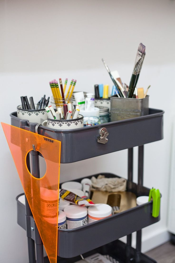 An idea for my crafting supplies - ready at hand, but still neatly organized. Jeanetta & Brian's Incredible Shared Space