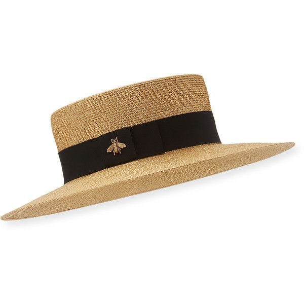 Gucci Bee Boater Hat (1,880 MYR) ❤ liked on Polyvore featuring accessories, hats, braid crown, round hat, brimmed hat, wide straw hat and round straw hat
