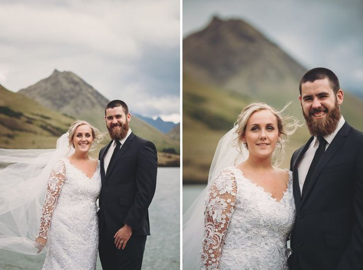 Natural bride and groom portraits at Queenstown lake side wedding in Moke Lake Queenstown New Zealand