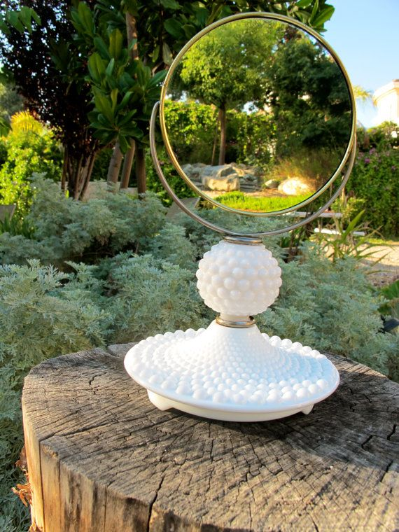 Vintage 1950s Hobnail Milk Glass Vanity Mirror ♥ I love this! pretty and useful