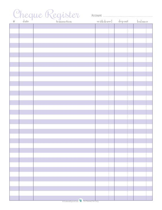 The  Best Check Register Ideas On   Printable Check
