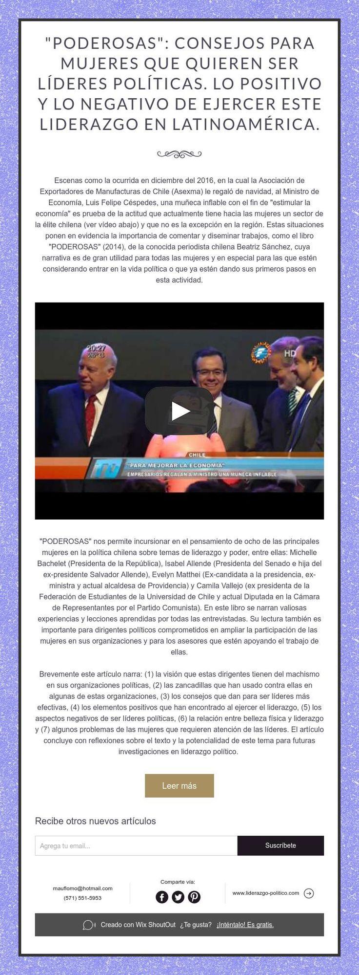 """""""PODEROSAS"""": Consejos para mujeres que quieren ser líderes políticas. Lo positivo y lo negativo de ejercer este liderazgo en Latinoamérica."""