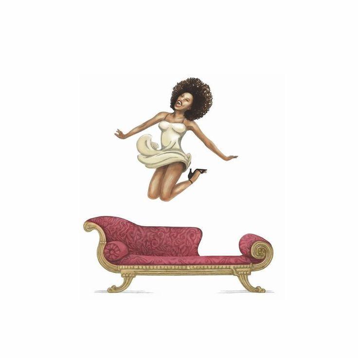 "Illustration done for Noble Savage ""The Flirt"". #haumannsmal #illustration for #winelabel #noblesavage #bartinney #theflirt #flirt #jump #afro #beauty"