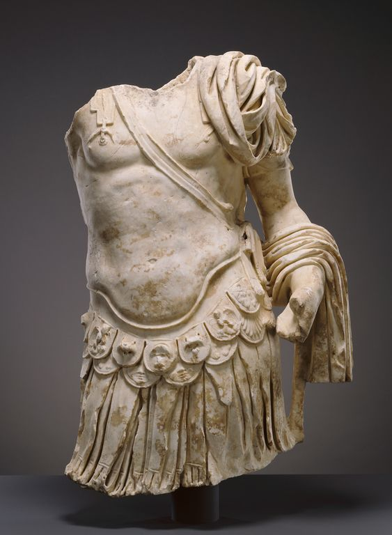 """""""Torso of a Cuirassed Statue,"""" about 83-85 A.D., Roman. Marble. 