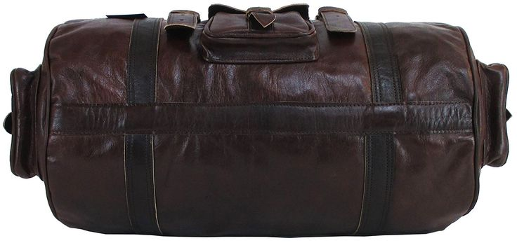 "GLBS 21""x11x11 Mens Genuine Leather Flap Duffel Bag Overnight Travel Carry On"