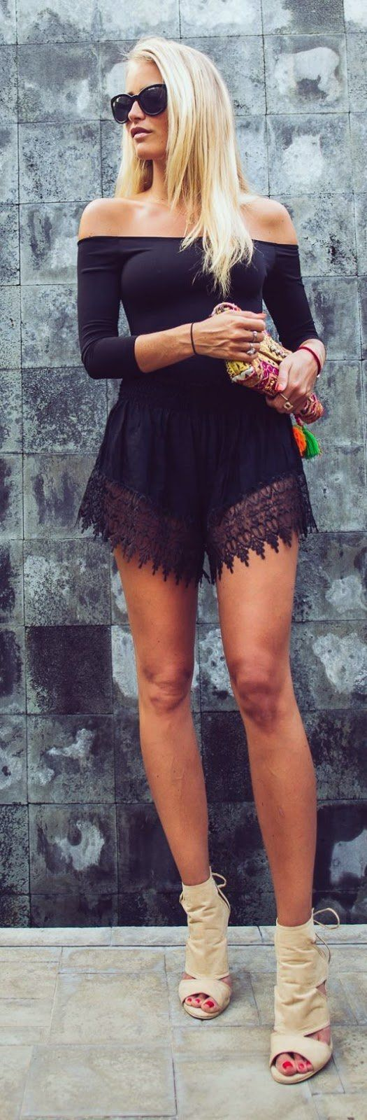 @roressclothes closet ideas #women fashion outfit #clothing style apparel Black Lacey Romper