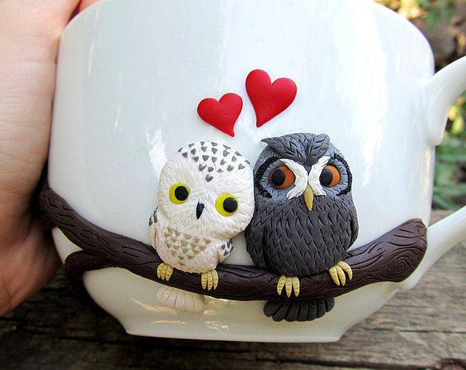 Amor buhos taza - hecho a mano tazas - mug personalizados - tazas personalizadas - tazas lindo - tazas - cerámica - verano regalo - tazas de diseño exclusivo