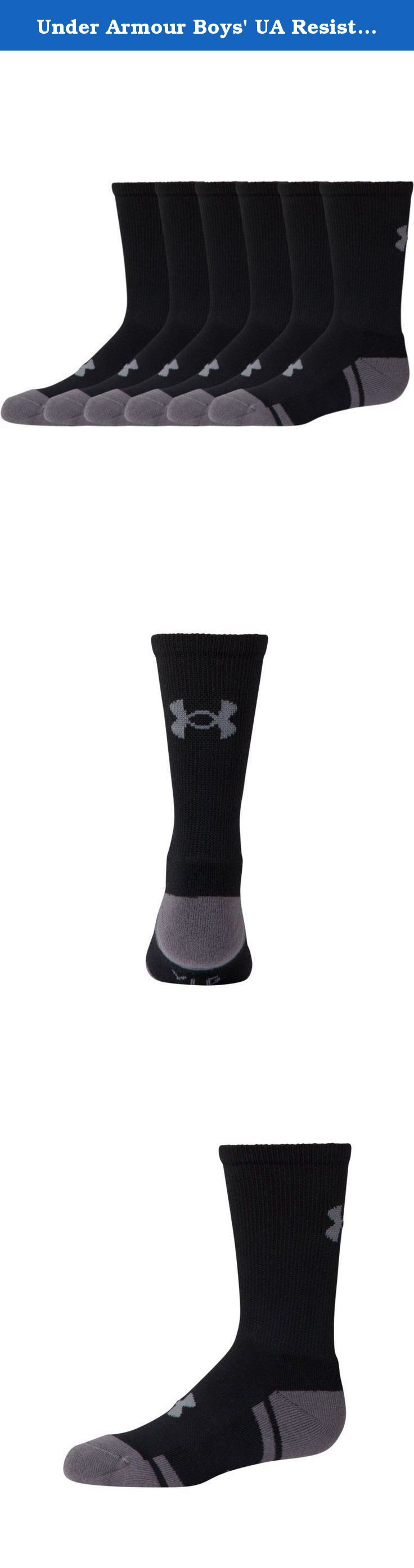 Under Armour Boys' UA Resistor III Crew Socks 6-Pack Youth Large Black. Strategic Cushioning protects high-impact areas of the foot. Moisture Transport System wicks sweat away from the body. ArmourBlock® anti-odor technology prevents the growth of odor causing microbes. Embedded arch support reduces foot fatigue. Six pairs of socks.