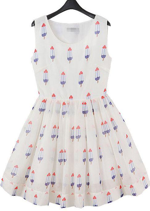 White Sleeveless Ice Cream Print Dress 21.63