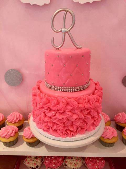 Pink ballerina baby shower party cake! See more party ideas at CatchMyParty.com!