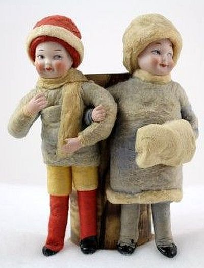 Heubach Candy Container Boy & Girl Standing against a Stump