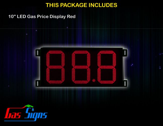 10 Inch 88.8 LED Gas Price Display Red with housing dimension H347mm x W704mm x D55mmand format 88.8 comes with complete set of Control Box, Power Cable, Signal Cable & 2 RF Remote Controls (Free remote controls).
