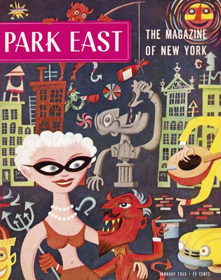 January 1953 cover illustration for Park East Magazine - artist Jim Flora.