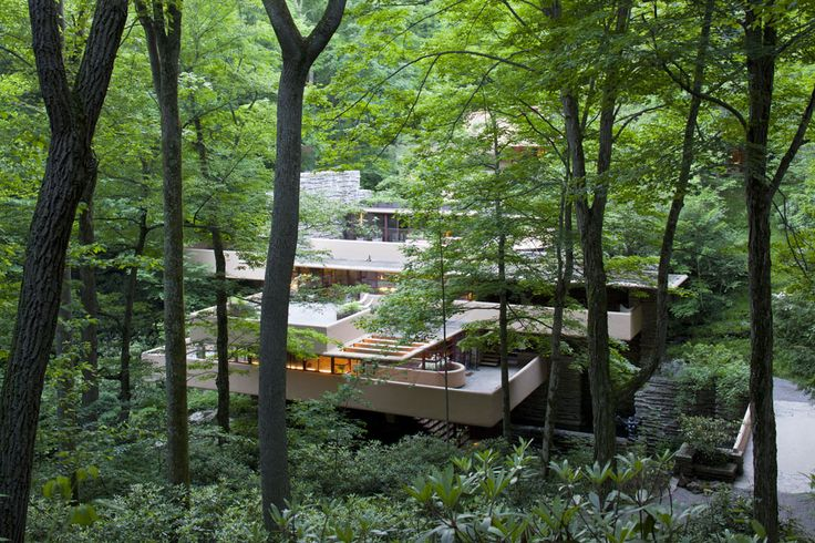 Fallingwater | Home. Generally not a big FLW fan.  But this could possibly be the best example of modern home architecture integrated into a natural environment, ever.