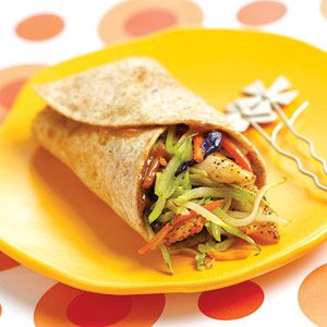 Thai Chicken-Broccoli Wraps    Nutrition facts per serving: 191 calories, 18g protein, 16g carbohydrate, 6g fat (1g saturated), 2g fiber